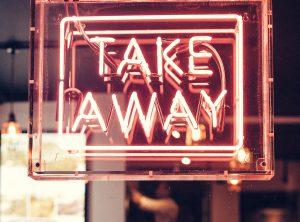 sign that says take away