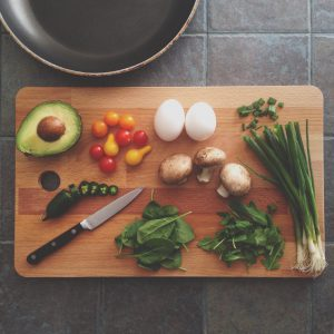 cutting board with ingredients