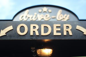 """sign saying """"drive-by order"""""""