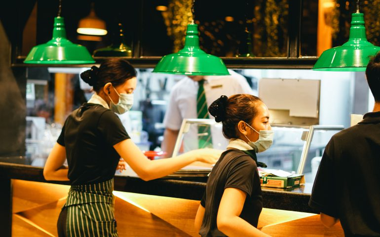 waitresses with face masks